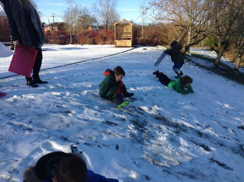 loving sledging on baking trays