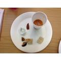 Traditional Egyptian food: Red lentil soup, dates, figs, cucumber dip and bread