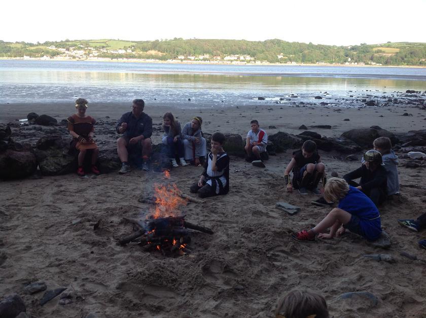 Enjoying a beach campfire