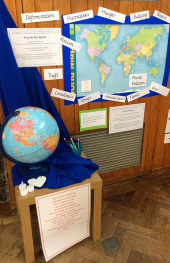 Display about Praying for the world
