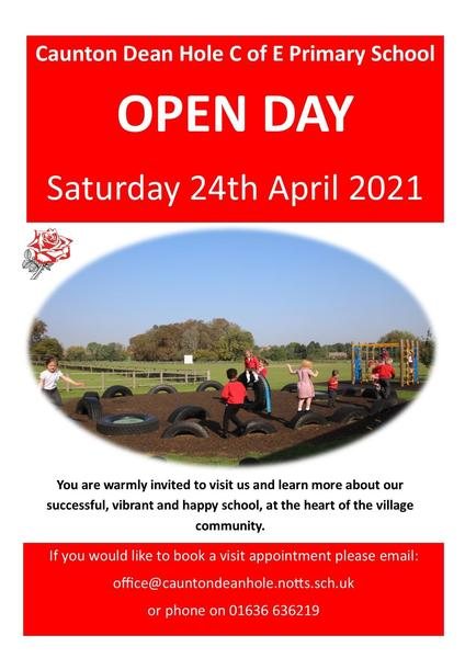 Open Day Saturday 24 April 2021