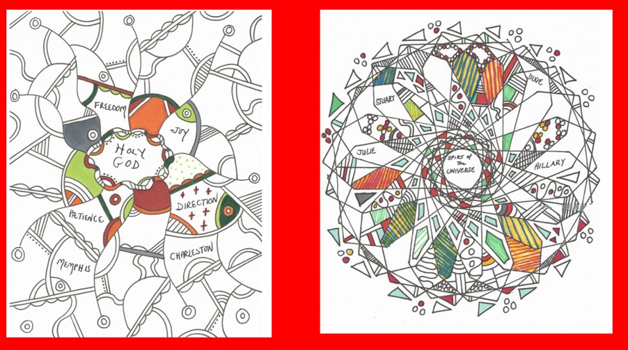 Example for how to colour your prayer template. Use pattern, words, pictures.