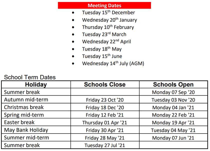PTA Meeting Dates and Term Times