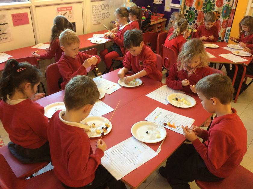 Making the kebabs using our designs