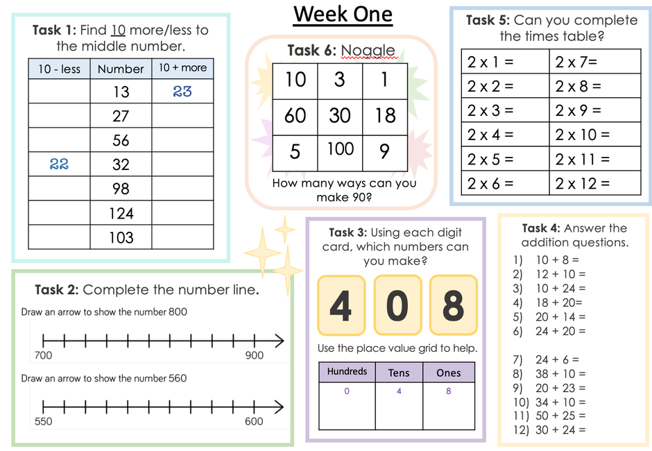 Complete one of these activities each day before maths!