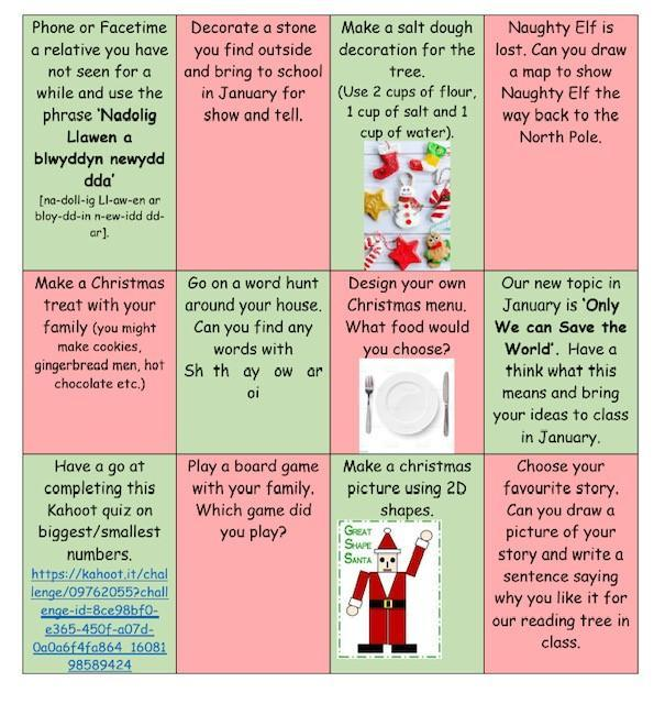 Choose a couple of activities from the bingo sheet to have a go at completing at home.