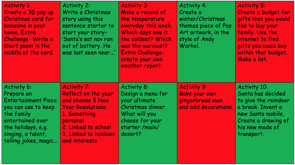 Christmas Activity Menu