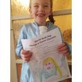 Chloe dressed as Elsa - what a lovely big smile Chloe! You look wonderful!