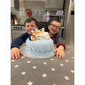 Two star bakers! Corey and his brother with their amazing bake off creation!