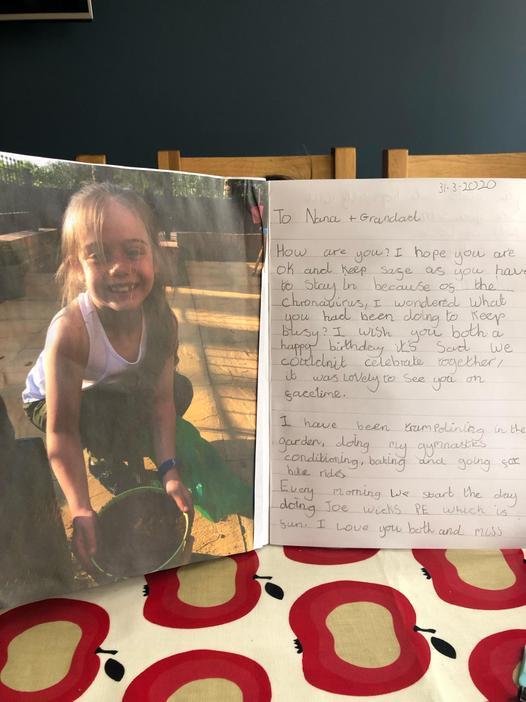 Lovely letter to Grandparents