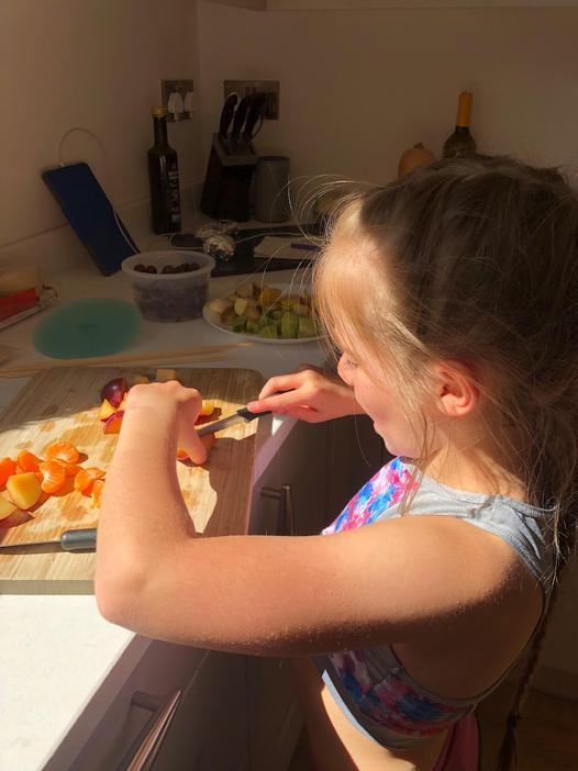 Making fruit skewers