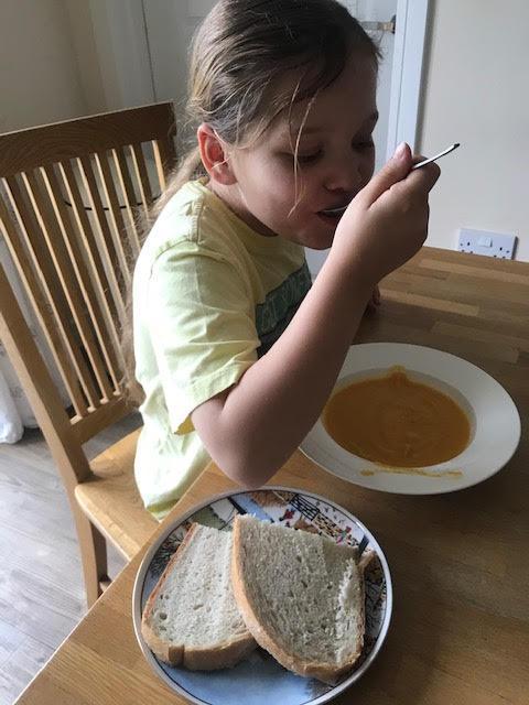 Enjoying homemade soup!