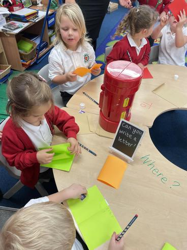 Writing letters practising our phonics skills and developing resilience and independent
