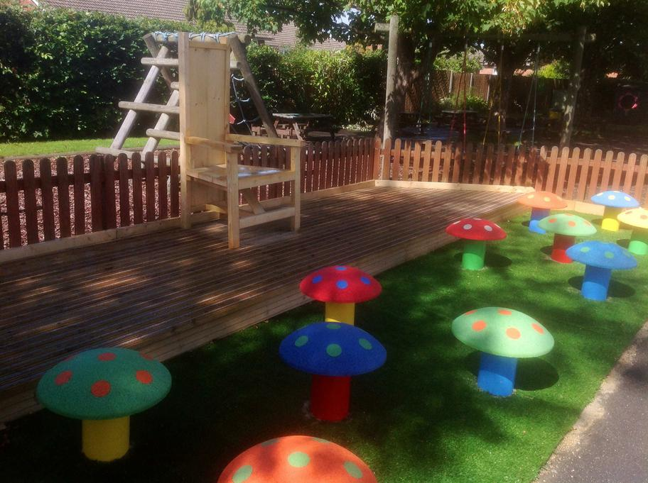 Storytelling chair, toadstools and stage area