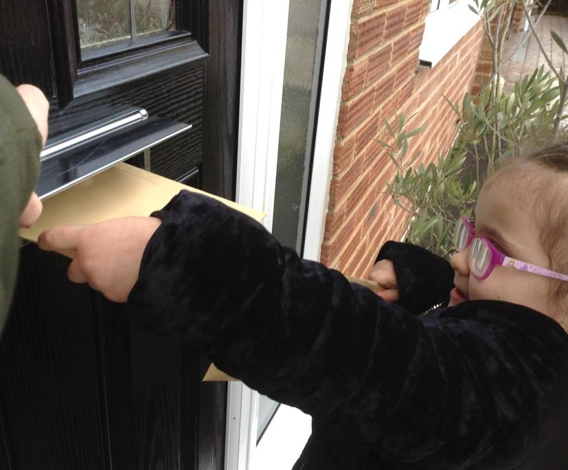 The children enjoyed posting them through doors!