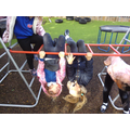 Developing physical skills on the climbing frame.