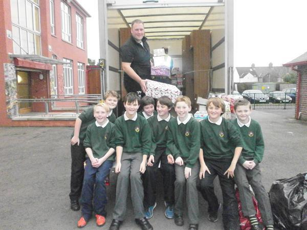 P7K helped the Pupil Council to load up the van