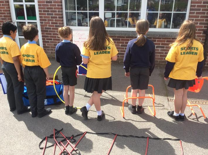 Our Y5 Sports leaders have been helping out delivering PE activities during breaktime