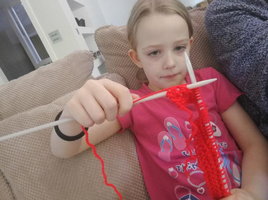 Francesca has learnt to knit