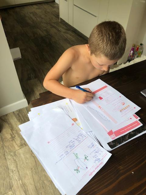 Lucas is working hard