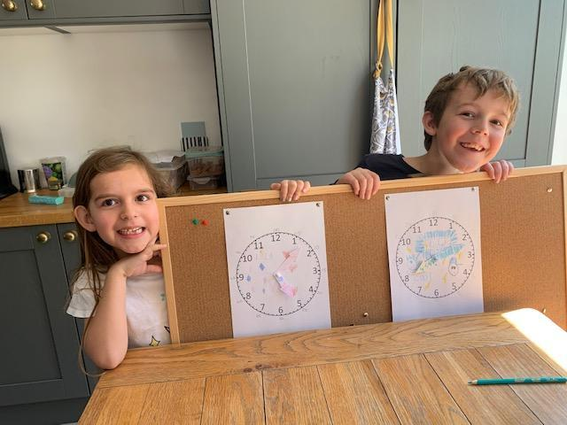 Lilla and her home made clock