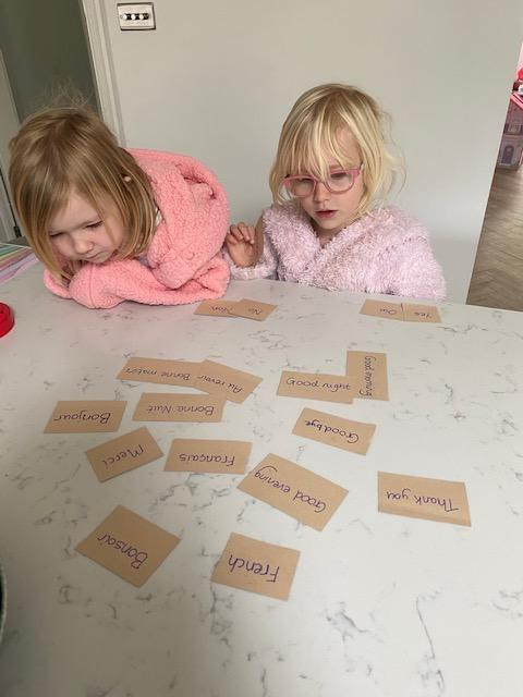 Amelie working well with her sister