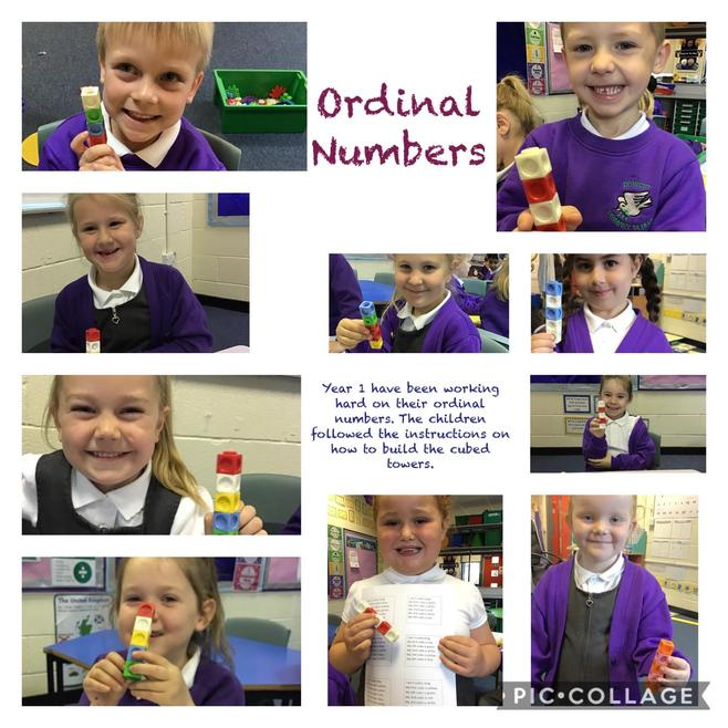 Ordinal Numbers - following instructions to make different towers