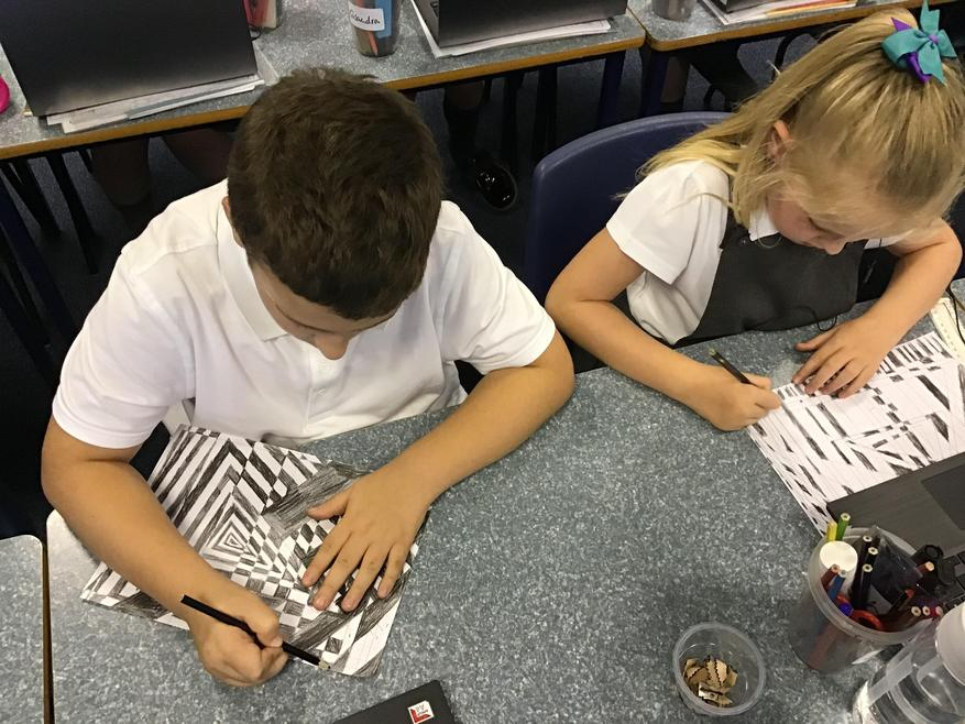 Having learnt more about the Opart artist, Bridget Riley, here we are creating our own