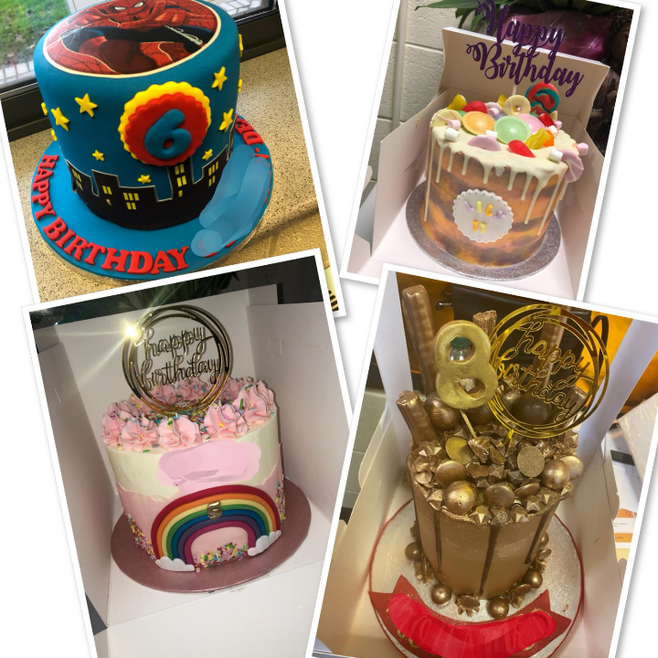 Cakes donated to help celebrate special birthdays.