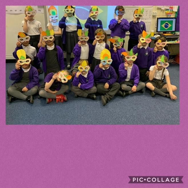 We made masks for our Brazilian carnival.