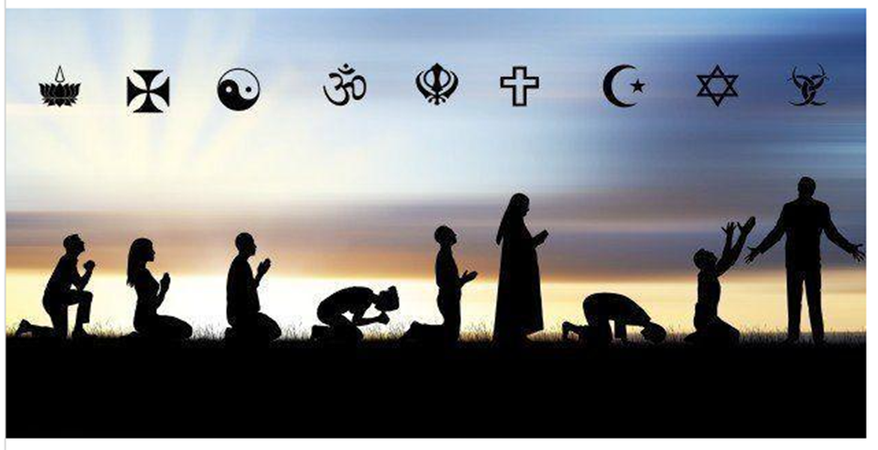 An image of a range of silhouettes under the main images for their faiths.