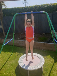 Doing great on her daily PE challenge