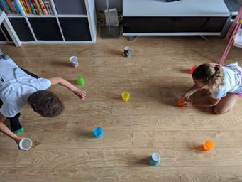 Siblings completing 'Rightway wrong way' game