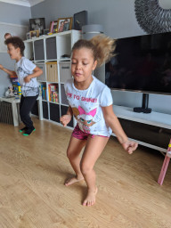 Doing her speed bounce activity challenge