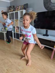 Doing her speed bounce activity challenge