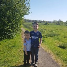 Out on a walk with his brother