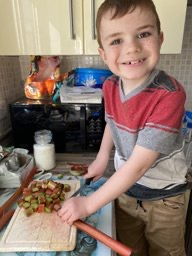 Busy baking a rhubarb crumble