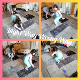 Lorelei and Evie playing right way wrong way