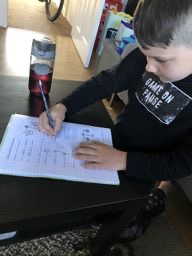 Enjoying his home learning activities