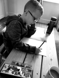 Concentrating on his work