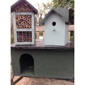 insect hotel, bird box and hedgehog house.
