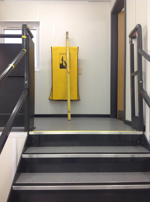 approaching top of stairs, then turn left for y5