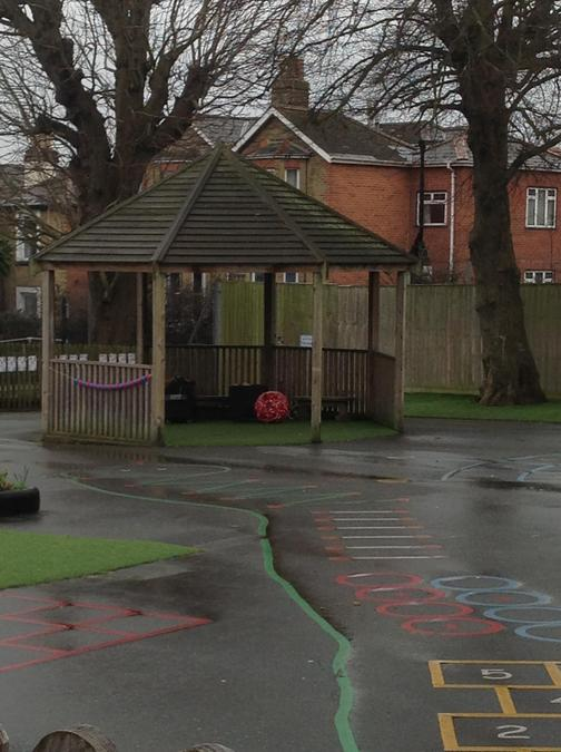 looking towards park road gate from inside reception playground