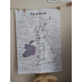 Theo has been creative with his map of the UK.