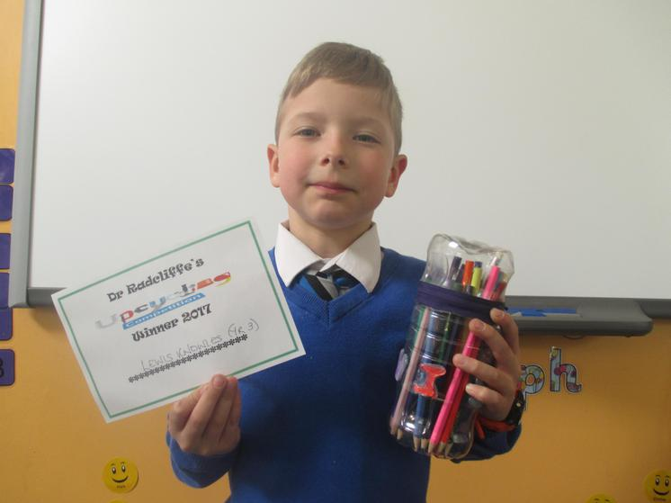 Year 3 & 4 Winner - Lewis with his pencil cas