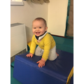 Having lots of fun on the soft play