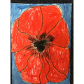 Jane in Y1 -  oil pastel poppy for Remembrance Day