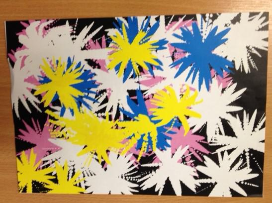 We created fireworks using a paint program.