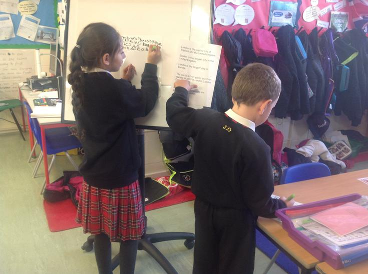 Gathering information from texts.