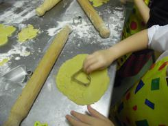 Use biscuit cutters to cut the dough.